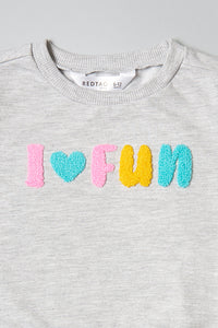 Grey I Love Fun Flock Print Sweatshirt