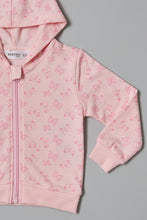 Load image into Gallery viewer, Pink Butterfly Print Zip Thru Hoody