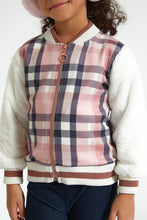 Load image into Gallery viewer, Pink Check Bomber Jacket