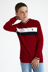 Red Colour Block Hooded Pullover
