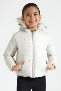 Cream Star Print Padded Jacket