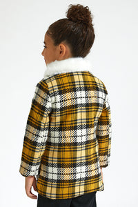 Mustard Checkered Jacket With Fur