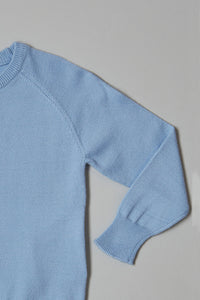 Blue Plain Crew Neck Pullover