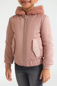 Pink Zip though Jacket with Fur Hood