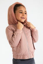 Load image into Gallery viewer, Pink Zip though Jacket with Fur Hood