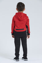 Load image into Gallery viewer, Red/Black Good Vibes Embossed Jog Set