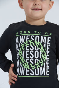 Black Born To Be Awesome Print Jog Set