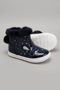 Navy Faux Fur Ankle Boot
