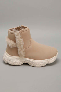 Beige Faux Fur Ankle Boot