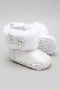 Silver Faux Fur Ankle Boot
