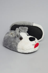 Grey Puffy Character Slipper