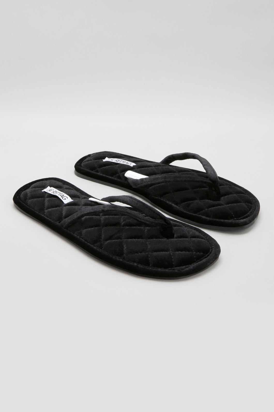 Black Velvet Thong Slipper