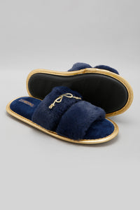 Navy Slipper With Bow