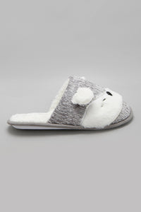 Grey Slipper With Animal Face