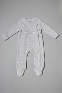 Grey Bear Face Velour Sleepsuit