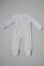 Load image into Gallery viewer, Grey Bear Face Velour Sleepsuit
