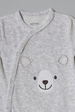 Load image into Gallery viewer, Grey Bear Velour Sleepsuit