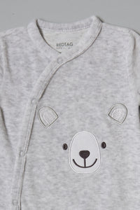 Grey Bear Velour Sleepsuit