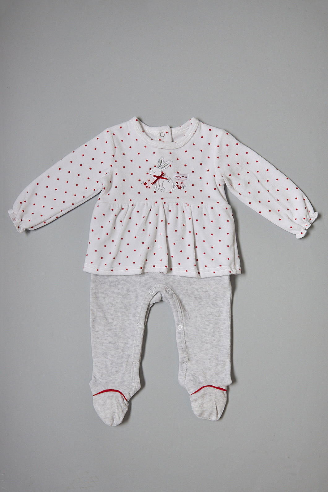 White/Grey Star Printed Dressy Velour Sleepsuit With bow