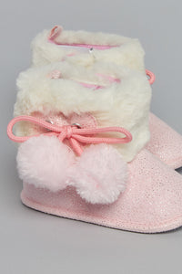 Pale Pink Pompom Boot