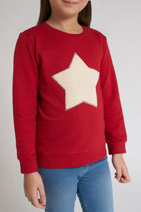 Red Star Applique Crew Neck Sweatshirt