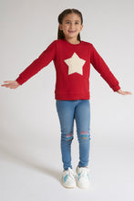 Load image into Gallery viewer, Red Star Applique Crew Neck Sweatshirt