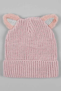Pink Faux Fur Knitted Beanie With Ears