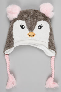 Grey Character Chenile Beanie with Glove and Pom Pom (Pack of 2)