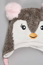 Load image into Gallery viewer, Grey Character Chenile Beanie with Glove and Pom Pom (Pack of 2)
