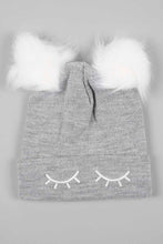 Load image into Gallery viewer, White and Grey Lurex Knitted Beanie with Pom Pom (Pack of 2)