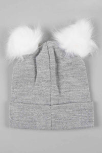 White and Grey Lurex Knitted Beanie with Pom Pom (Pack of 2)