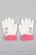 Load image into Gallery viewer, White Butterfly Knitted Gloves