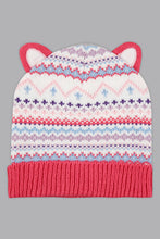 Load image into Gallery viewer, Pink Jacquard Beanie, Glove and Scarf Set with Pom Pom (Pack of 3)