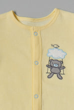 Load image into Gallery viewer, Yellow Bear Velour Sleepsuit