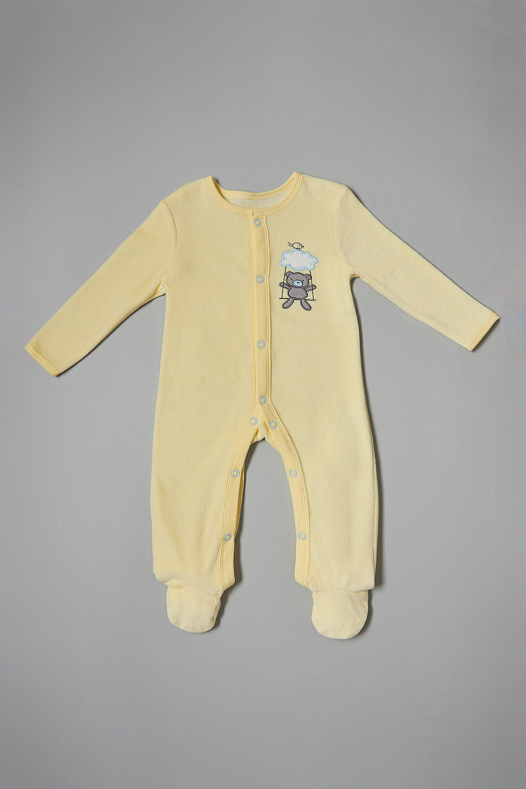 Yellow Bear Velour Sleepsuit