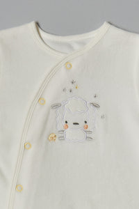 White Sheep Velour Sleepsuit