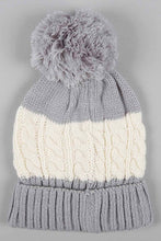 Load image into Gallery viewer, Grey Cable Knitted Beanie with Pom Pom