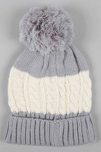 Grey Cable Knitted Beanie with Pom Pom