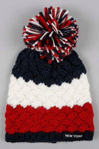 Assorted Cable Knit Knitted Beanie with Pom Pom