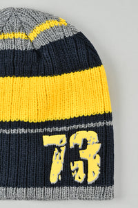 Navy Knitted Beanie with Number Rubber Patch