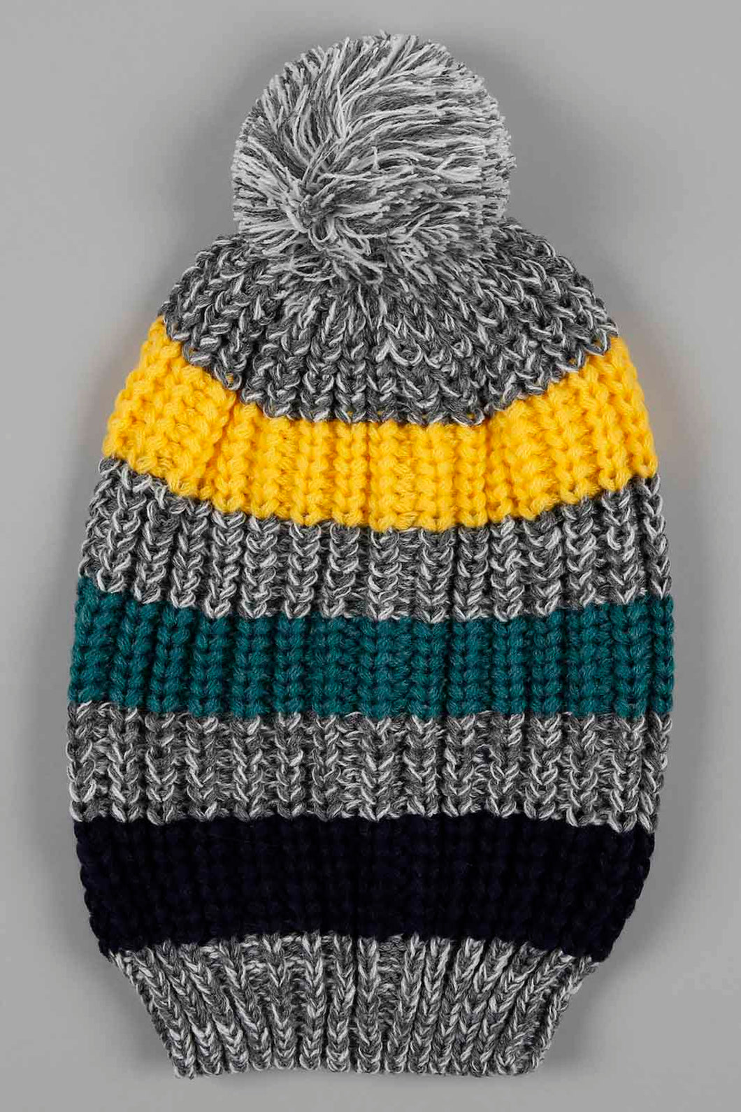 Grey Knitted Beanie Colourful Lines with Pom Pom