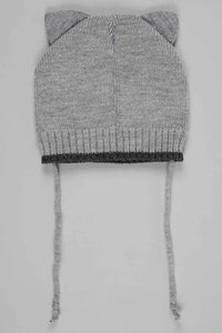 Grey and Navy Character Knitted Beanie with Ear (Pack of 2)