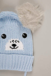 Red and Light Blue Teddy Knitted Beanie with Pom Pom (Pack of 2)