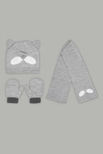 Load image into Gallery viewer, Grey Character Beanie, Gloves and Scarf Set With Ear (Pack of 3)