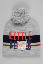 Load image into Gallery viewer, Grey Bear Beanie, Gloves and Scarf Set With Pom Pom (Pack of 3)