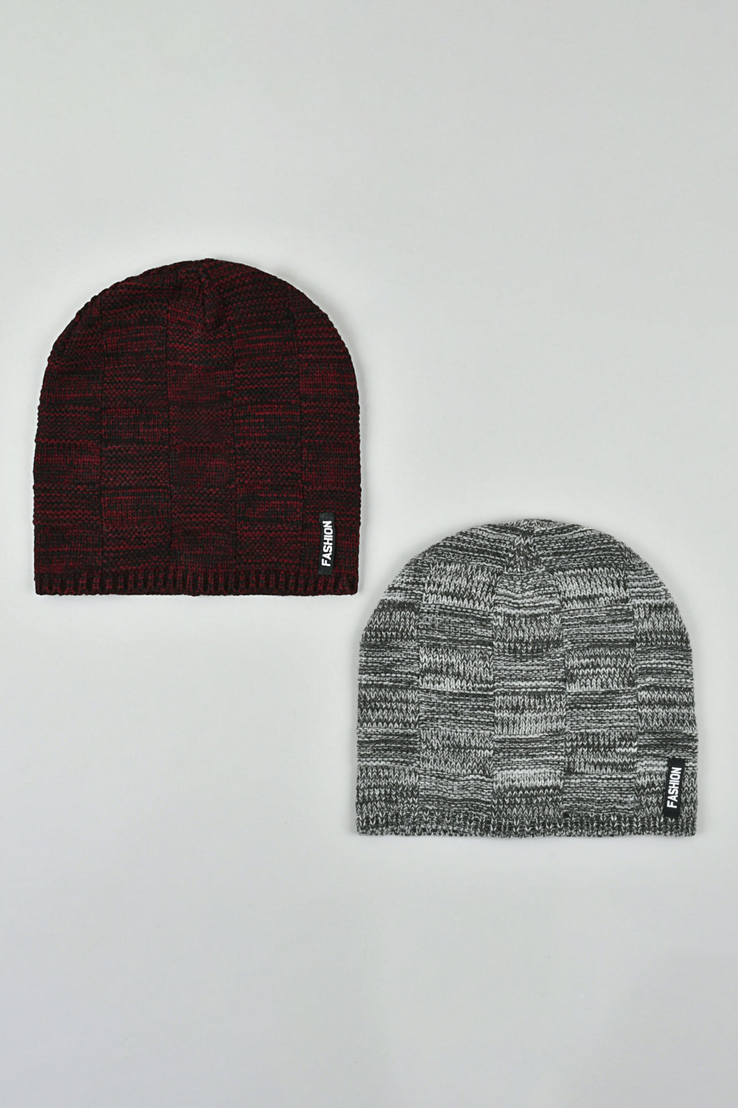 Maroon and Black Cable Knitted Beanies (Pack of 2)