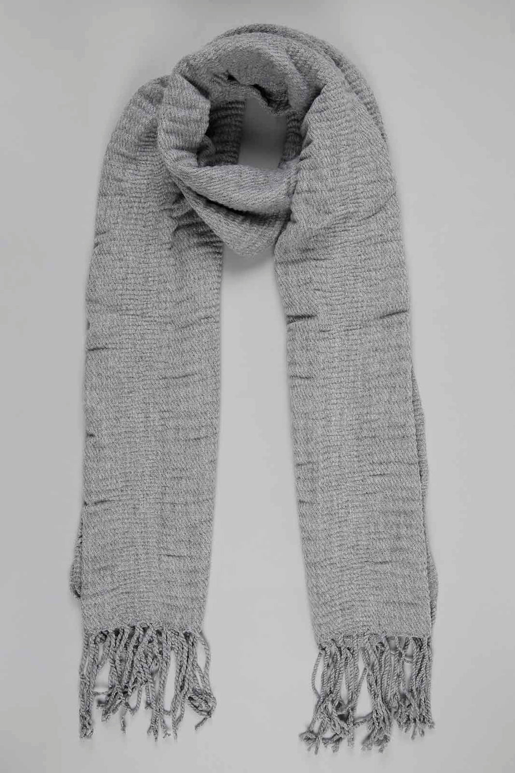Grey Crinkle Knitted Scarf
