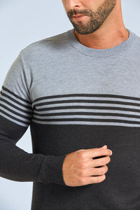 Grey Striped Crew Neck Jumper
