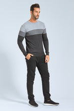 Load image into Gallery viewer, Grey Striped Crew Neck Jumper