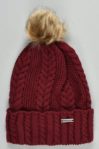Maroon Cable Knit Beanie with Pom Pom